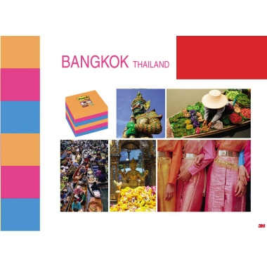 Post-it® Haftnotiz Super Sticky Notes Bangkok Collection 6 Block/Pack. 127 x 76 mm (B x H) - Umweltkennzeichen
