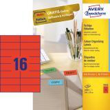 Avery Zweckform Universaletikett 105 x 37 mm farbig rot