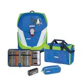 SCOUT Schulranzenset Sunny II Saftey Blue Space 4-teilig