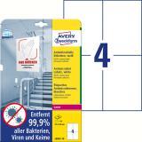 Avery Zweckform Folienetikett antimikrobiell A6 weiß