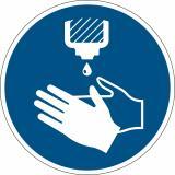 DURABLE Hinweisschild Hände desinfizieren blau rund