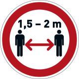 DURABLE Hinweisschild Abstand halten rot rund