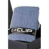 i-clip Geldbeutel aus Filz mit Jeans Optik blau