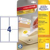 Avery Zweckform Universaletikett, weiß, 99,1 x 139 mm, Vorteilspack +5 Blatt gratis