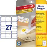 Avery Zweckform Universaletikett weiß, 63,5 x 29,6 mm, Vorteilspack + 5 Blatt gratis