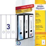 Avery Zweckform Ordnerrückenetikett breit/lang, weiß, Vorteilspack + 5 Blatt gratis 61 x 297 mm