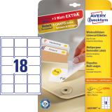 Avery Zweckform Universaletikett weiß, 63,5 x 46,6 mm, Vorteilspack + 5 Blatt gratis