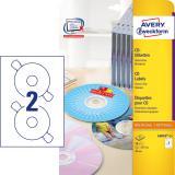 Avery Zweckform CD/DVD Etikett, weiß, 25 Bl./Pack.