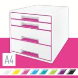 Leitz Schubladenbox WOW CUBE 4 Schubfächer pink, weiß