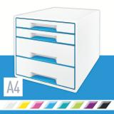 Leitz Schubladenbox WOW CUBE 4 Schubfächer blau metallic, weiß