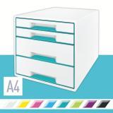 Leitz Schubladenbox WOW CUBE 4 Schubfächer eisblau, weiß
