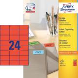 Avery Zweckform Universaletikett 70 x 37 mm, rot