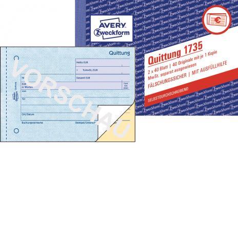 Avery Zweckform Quittung 1735 Günstig Online Bestellen