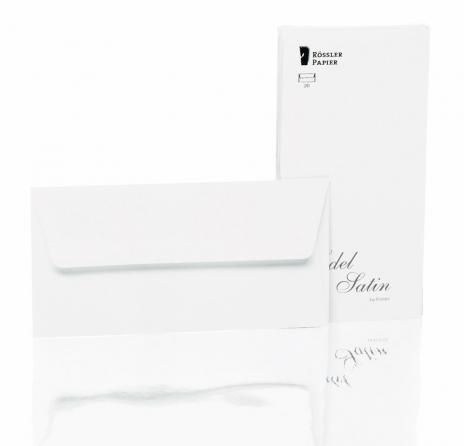 Rössler Briefumschlag Edel Satin - DL weiß