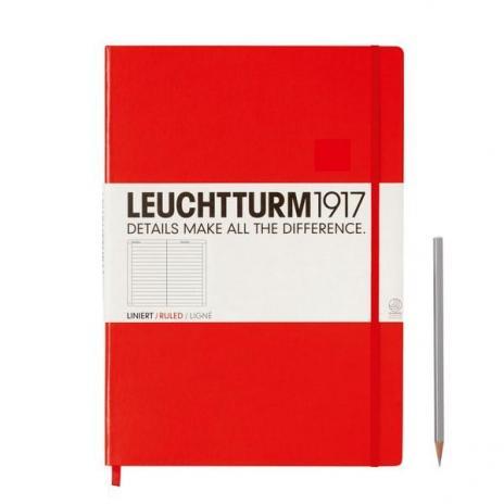 Leuchtturm Notizbuch Master A4+ in rot, liniert