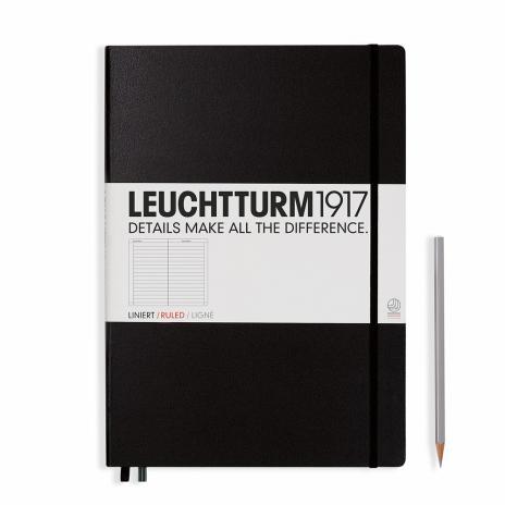 Leuchtturm Notizbuch Master A4+ in schwarz, liniert