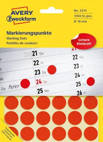 Avery Zweckform Markierungspunkt 18mm, Großpackung, gelb