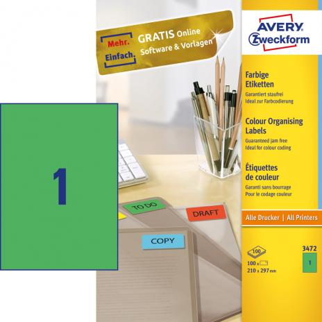 Avery Zweckform Universaletikett 210 x 297 mm grün
