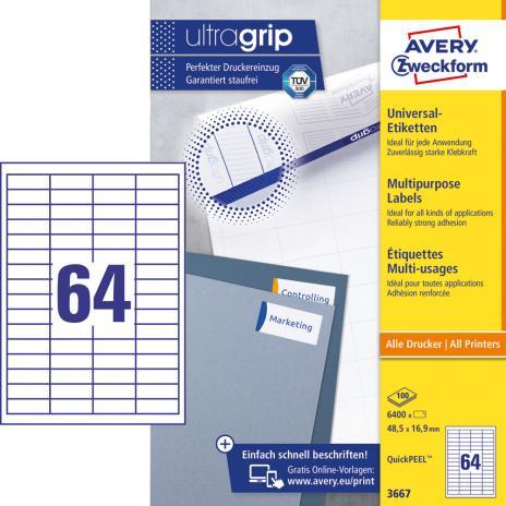 Avery Zweckform Universaletikett ultragrip 3667 48,5 x 16,9 mm weiß