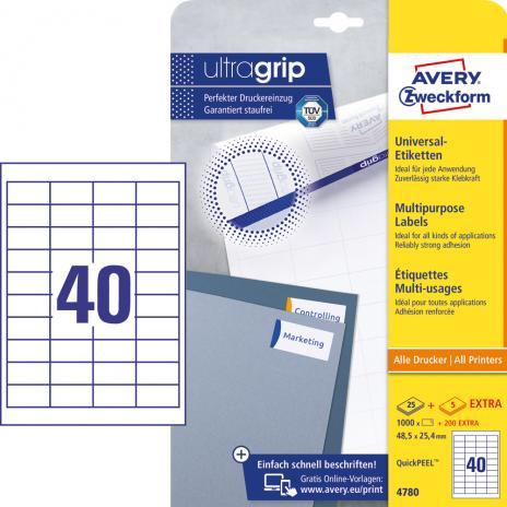 Avery Zweckform Universaletikett ultragrip 4780 48,5 x 25,4 mm weiß