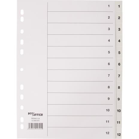 Pro/Office Zahlenregister 1-12 weiß aus PP-Folie