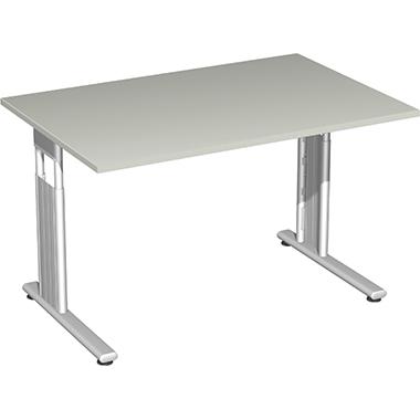 Geramöbel Schreibtisch C Fuß Flex 120 x 68-82 x 80 cm Rechteck silber
