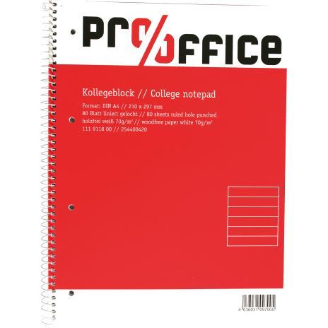 Pro/Office Collegeblock DIN A4, Lineatur 21/22, ohne Rand, 80 Blatt kariert