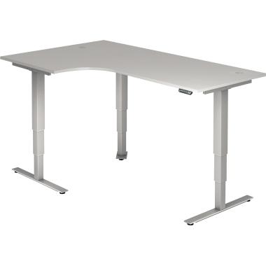 Hammerbacher Schreibtisch 200 x 63,5-128,5 x 120 cm grau