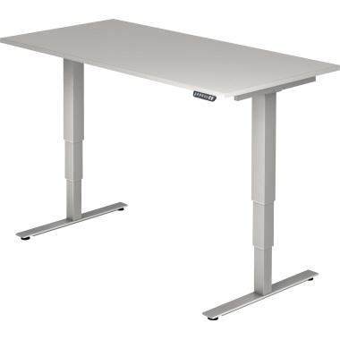 Hammerbacher Schreibtisch 160 x 62,5-127,5 x 80 cm grau