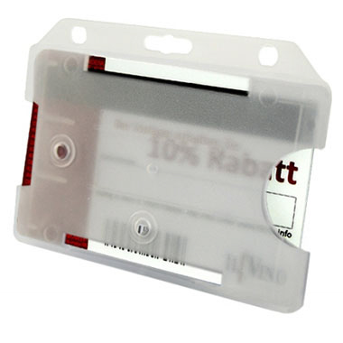 Namensschild/Scheckkartenhalter Querformat. Ohne Ausweisclip