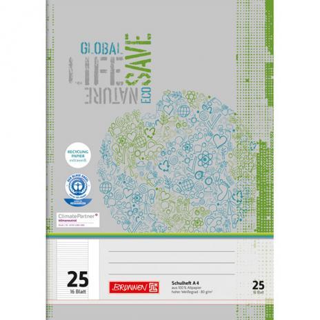 Schulheft DIN A4, Lineatur 25, Recycling-Papier, liniert, 16 Blatt