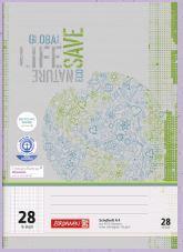 Schulheft DIN A4, Lineatur 28, Recycling-Papier, kariert, 16 Blatt