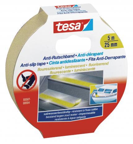 tesa® Antirutschband 25 mm x 5 m fluoreszierend