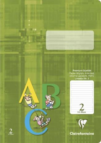 Schulheft DIN A4, Lineatur 2, 16 Blatt