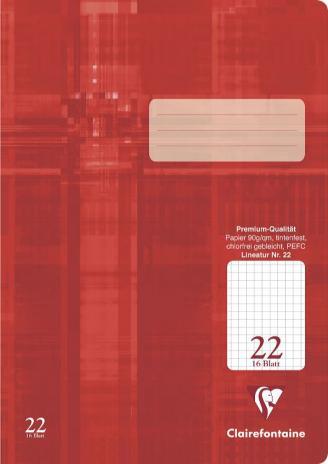 Schulheft DIN A4, Lineatur 22, 16 Blatt, rot