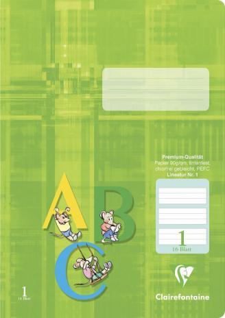 Schulheft DIN A4, Lineatur 1, grün hinterlegt, 16 Blatt