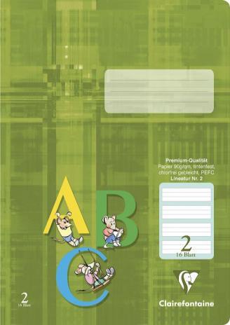 Schulheft DIN A4, Lineatur 2, grün hinterlegt, 16 Blatt