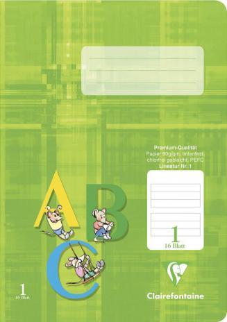 Schulheft DIN A5, Lineatur 1, 16 Blatt