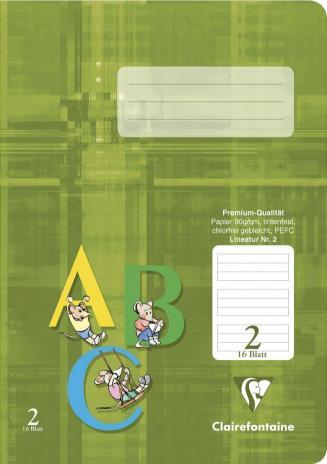Schulheft DIN A5, Lineatur 2, 16 Blatt