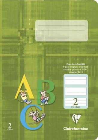 Schulheft DIN A5, Lineatur 2, grün hinterlegt, 16 Blatt