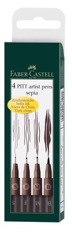 Tuschestift PITT® ARTIST PEN, Sepia, sortiert im 4er Etui