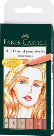 Tuschezeichner PITT ARTIST PEN Skin, sortiert im 6er Etui