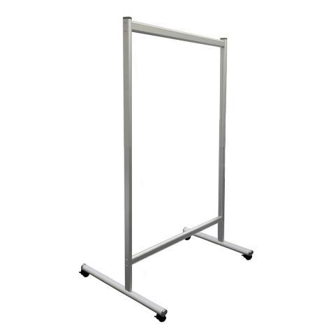 Trennwand / Spuck- und Niesschutz Acrylglas, mobil, mit Rollen 1200 x 1500 mm (B x H)
