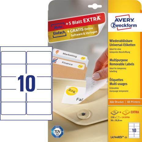 Avery Zweckform Universaletikett weiß, 96 x 50,8 mm, Vorteilspack + 5 Blatt gratis