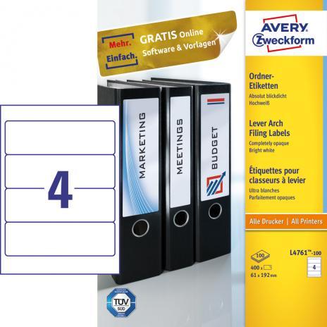 Avery Zweckform Ordnerrückenetikett 61 x 192 mm, Vorteilspack + 5 Blatt gratis
