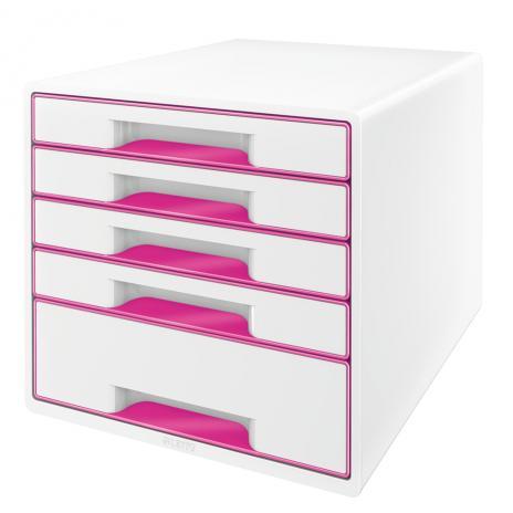 Leitz Schubladenbox WOW CUBE 5 Schubfächer pink, weiß