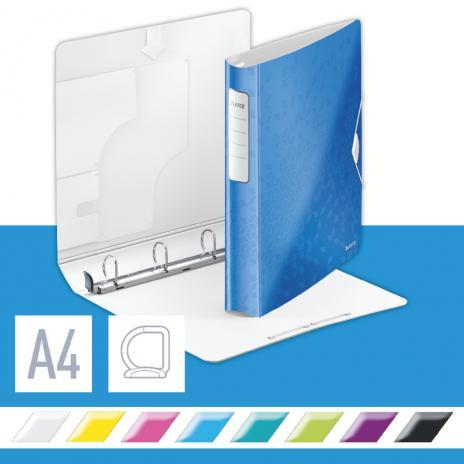 Leitz Ringbuch WOW 4 D-Ring SoftClick Mechanik 250 Bl. (80 g/m²) blau