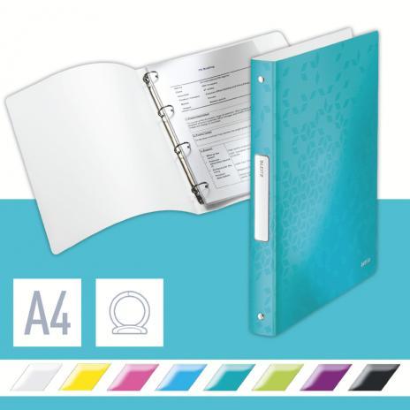 Leitz Ringbuch WOW 4 Rund-Ring Mechanik 190 Bl. (80g/m²) eisblau
