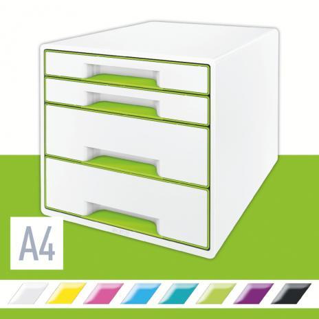 Leitz Schubladenbox WOW CUBE 4 Schubfächer grün, weiß