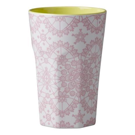 Rice Latte Macchiato Becher weiß, rosa